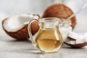 Fresh coconut oil in glassware