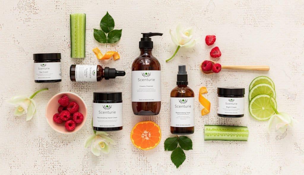 Skincare range with fruit